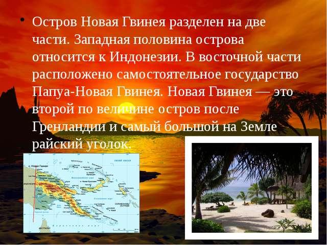 Остров Новая Гвинея разделен на две части. Западная половина острова относитс...