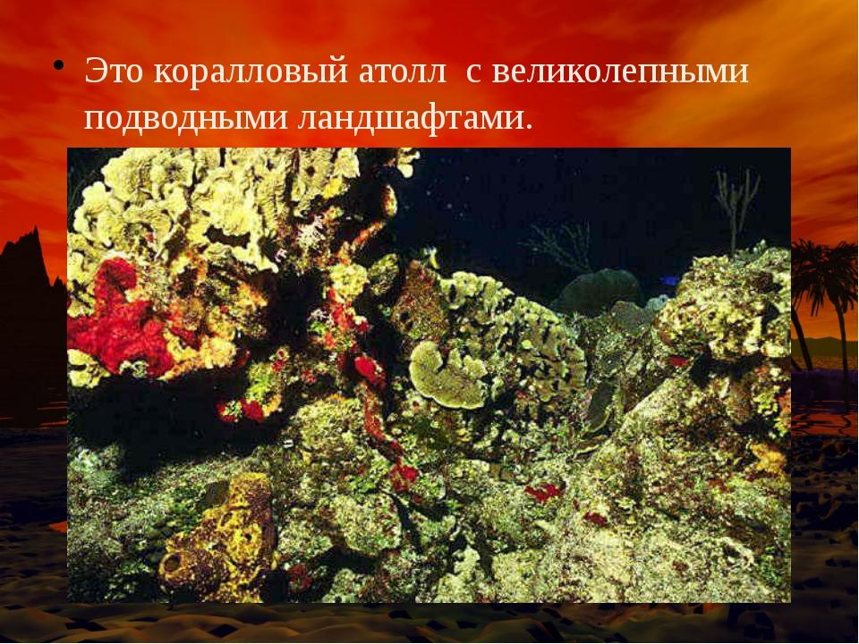 Это коралловый атолл с великолепными подводными ландшафтами.