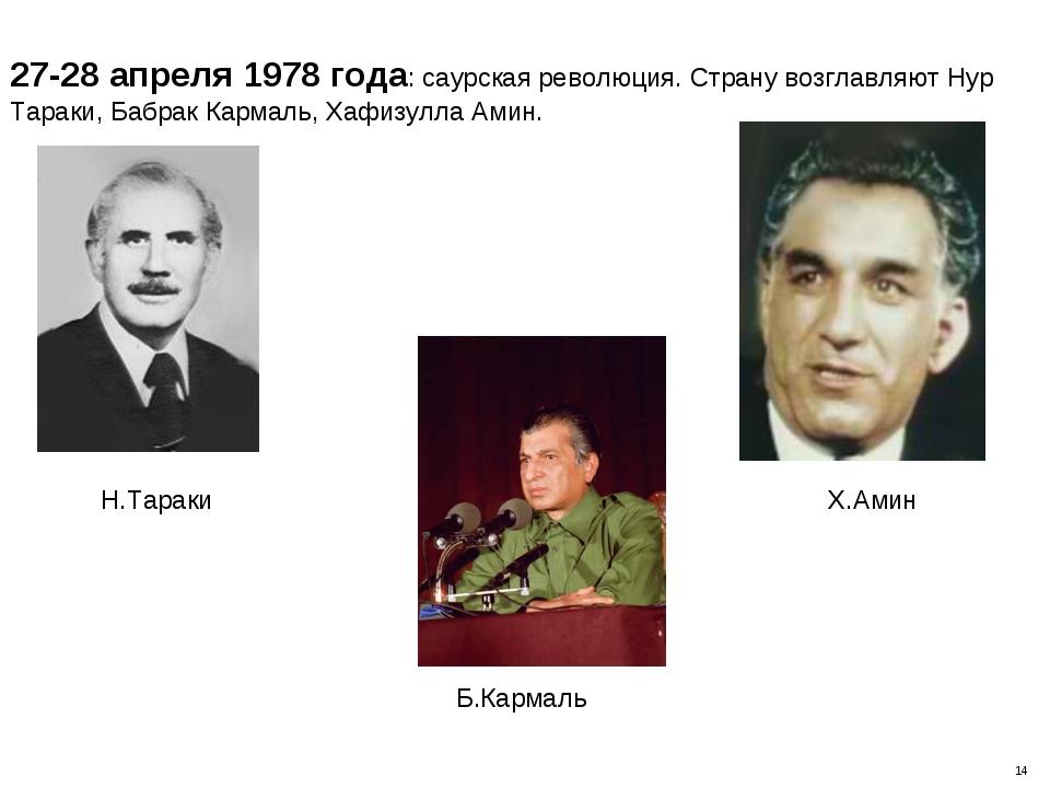 27-28 апреля 1978 года: саурская революция. Страну возглавляют Нур Тараки, Ба...