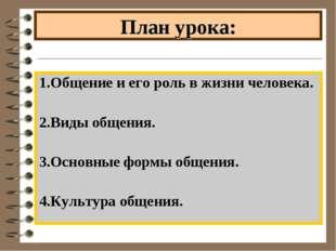 План урока: 1.Общение и его роль в жизни человека. 2.Виды общения. 3.Основные