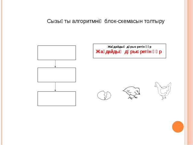 Жағдайдың дұрыс ретін құр Сызықты алгоритмнің блок-схемасын толтыру