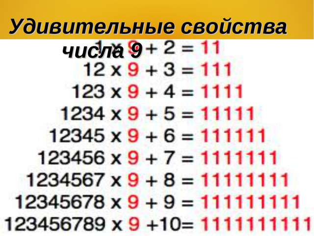 Удивительные свойства числа 9