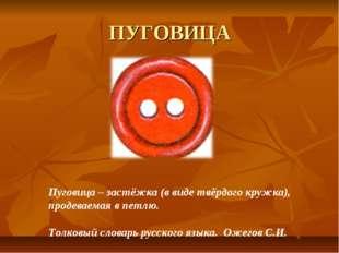 ПУГОВИЦА Пуговица – застёжка (в виде твёрдого кружка), продеваемая в петлю. Т
