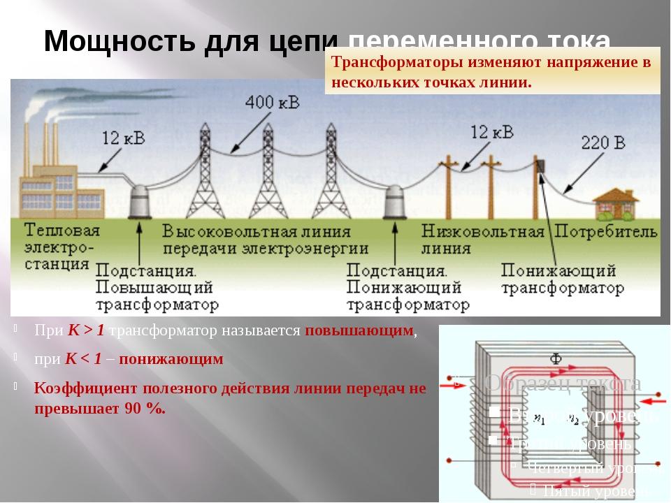 Мощность для цепи переменного тока. Мощность в цепи переменного тока выделяет...