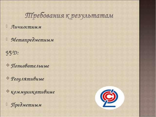 Личностным Метапредметным УУД: Познавательные Регулятивные коммуникативные Пр...