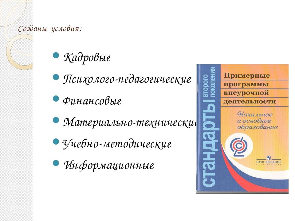 Созданы условия: Кадровые Психолого-педагогические Финансовые Материально-тех...