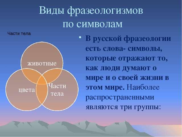 Виды фразеологизмов по символам В русской фразеологии есть слова- символы, ко...