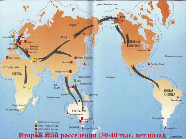 Второй этап расселения (30-40 тыс. лет назад