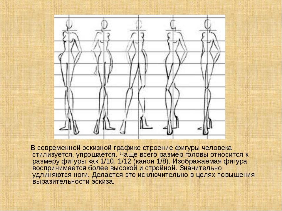 В современной эскизной графике строение фигуры человека стилизуется, упрощае...