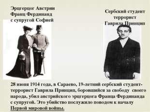 Эрцгерцог Австрии Франц Фердинанд с супругой Софией Сербский студент террорис