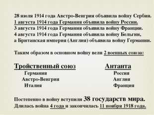 28 июля 1914 года Австро-Венгрия объявила войну Сербии. 1 августа 1914 года Г