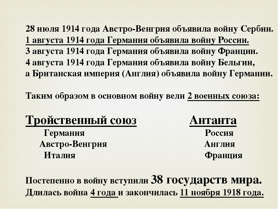 28 июля 1914 года Австро-Венгрия объявила войну Сербии. 1 августа 1914 года Г...