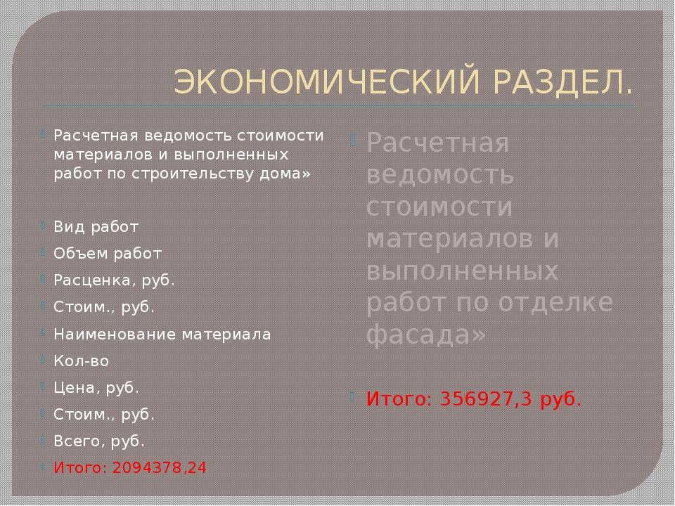 ЭКОНОМИЧЕСКИЙ РАЗДЕЛ. Расчетная ведомость стоимости материалов и выполненных...