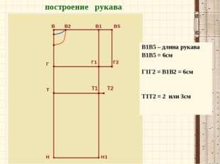 В В2 Г Т Н Н1 построение рукава В1 В5 Г1 Г2 Т1 Т2 В1В5 – длина рукава В1В5 =