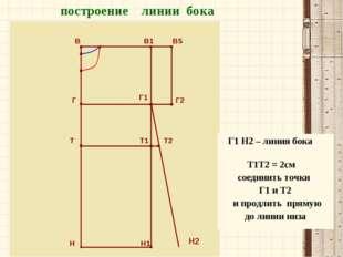 В В1 В5 Г Г2 Т Т1 Т2 Н Н1 построение линии бока Г1 Н2 Г1 Н2 – линия бока Т1Т2