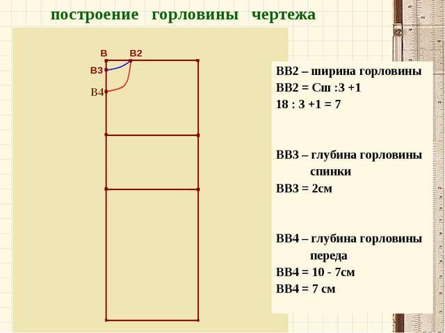 В В2 В3 В4 построение горловины чертежа ВВ2 – ширина горловины ВВ2 = Сш :3 +1...