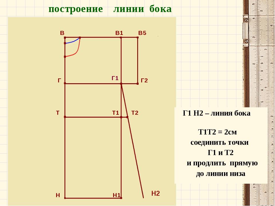 В В1 В5 Г Г2 Т Т1 Т2 Н Н1 построение линии бока Г1 Н2 Г1 Н2 – линия бока Т1Т2...