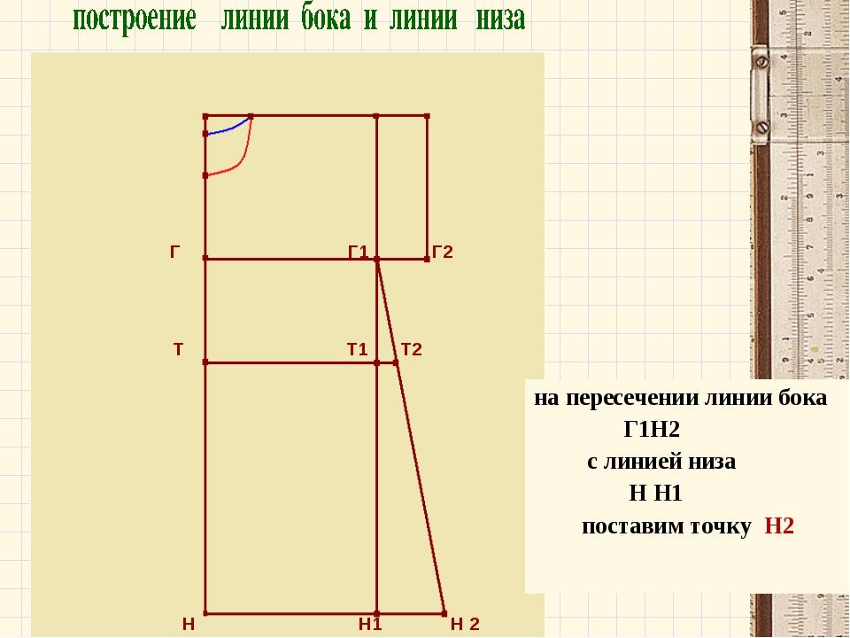 Г Г1 Г2 Т Т1 Т2 Н Н1 Н 2 на пересечении линии бока Г1Н2 с линией низа Н Н1 п...