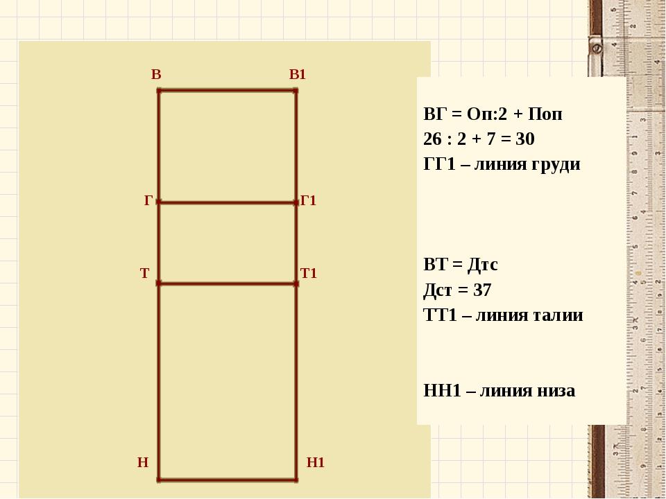 В В1 Г Г1 Т Т1 Н Н1 ВГ = Оп:2 + Поп 26 : 2 + 7 = 30 ГГ1 – линия груди ВТ = Д...