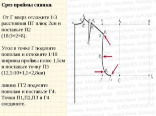 Срез проймы спинки. От Г вверх отложите 1/3 расстояния ПГ плюс 2см и поставь
