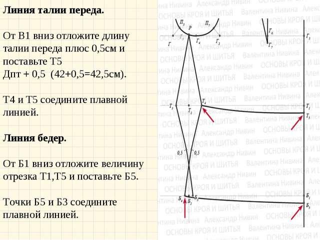 Линия талии переда. От В1 вниз отложите длину талии переда плюс 0,5см и пост...