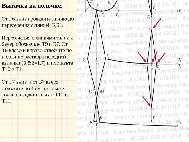 Вытачка на полочке. От Г6 вниз проведите линию до пересечения с линией Б,Б1....