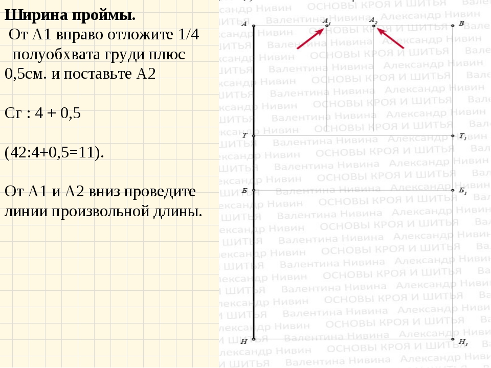 Ширина проймы. От А1 вправо отложите 1/4 полуобхвата груди плюс 0,5см. и п...