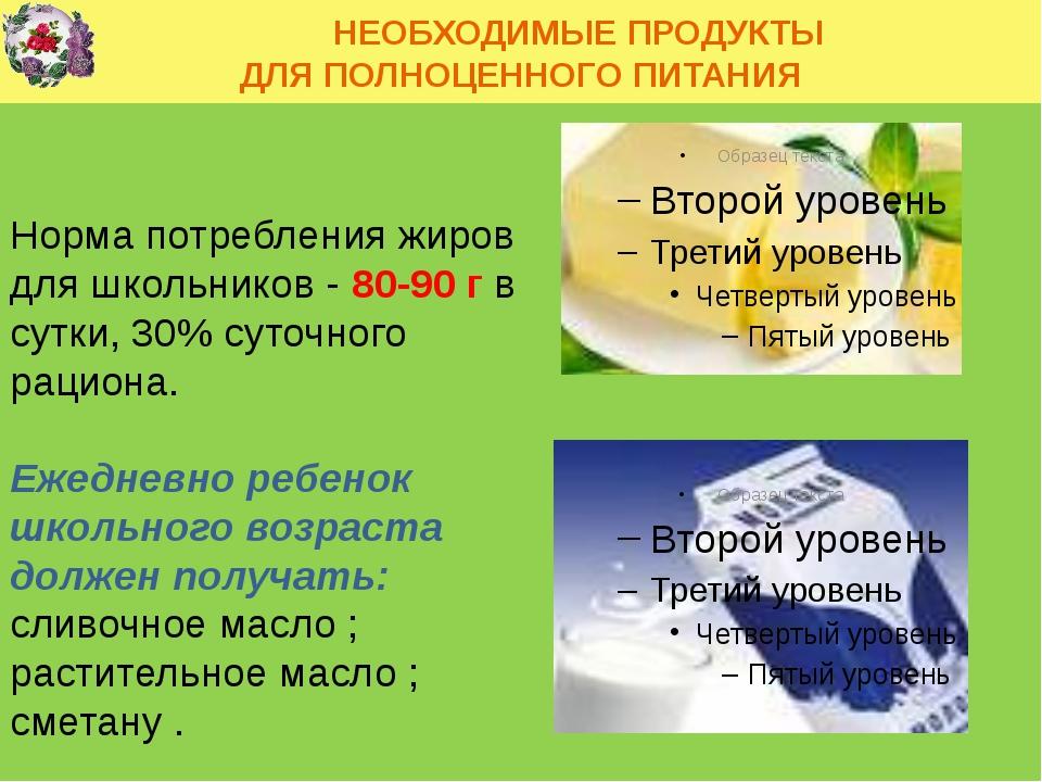 НЕОБХОДИМЫЕ ПРОДУКТЫ ДЛЯ ПОЛНОЦЕННОГО ПИТАНИЯ Норма потребления жиров для шк...