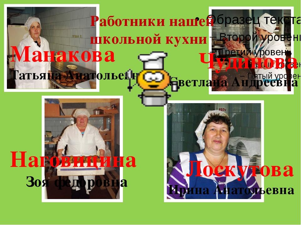Наговицина Зоя федоровна Чудинова Светлана Андреевна Работники нашей школьно...