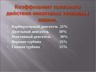 Карбюраторный двигатель 25% Дизельный двигатель 38% Реактивный двигатель 30%