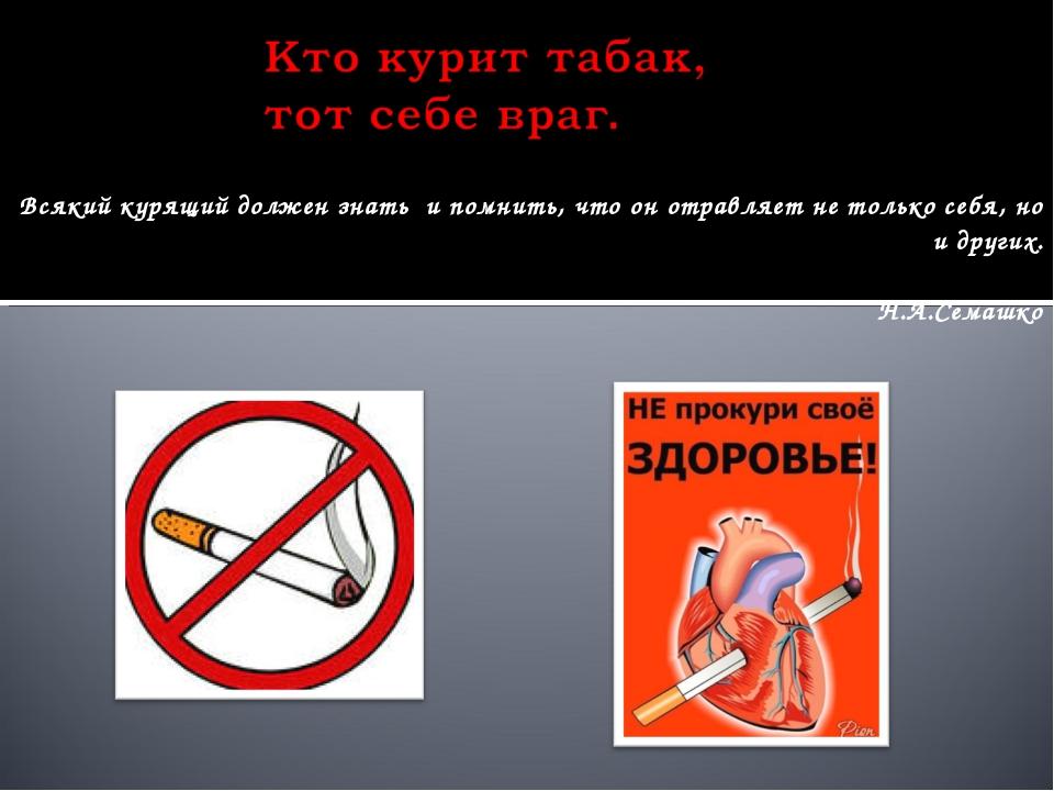 Всякий курящий должен знать и помнить, что он отравляет не только себя, но и...