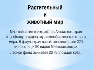 Растительный и животный мир Многообразие ландшафтов Алтайского края способств