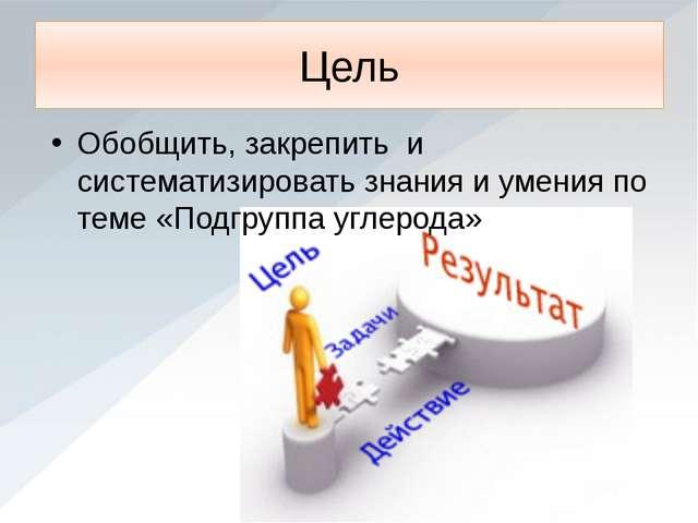 Цель Обобщить, закрепить и систематизировать знания и умения по теме «Подгруп...