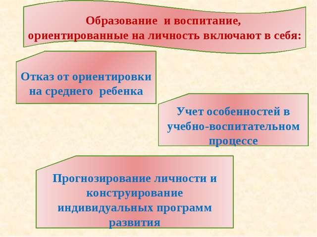 Образование и воспитание, ориентированные на личность включают в себя: Отказ...