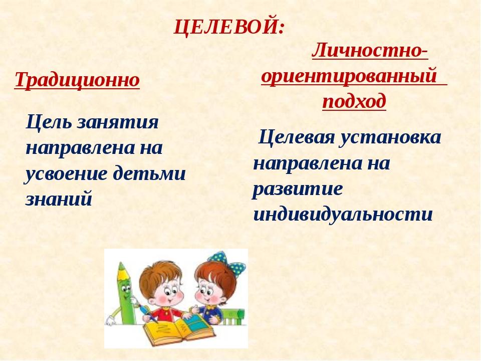 ЦЕЛЕВОЙ: Цель занятия направлена на усвоение детьми знаний Целевая установка...