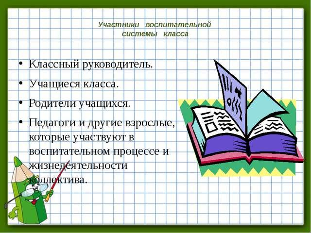 Участники воспитательной системы класса Классный руководитель. Учащиеся клас...