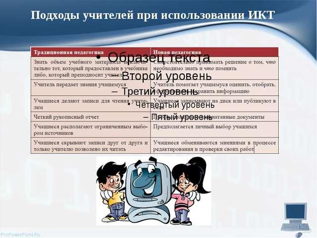 Подходы учителей при использовании ИКТ ProPowerPoint.Ru