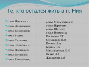 Те, кто остался жить в п. Ния семья Итпековых; семья Лапиашвили; семья Бендил