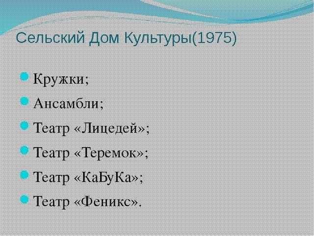 Сельский Дом Культуры(1975) Кружки; Ансамбли; Театр «Лицедей»; Театр «Теремок...