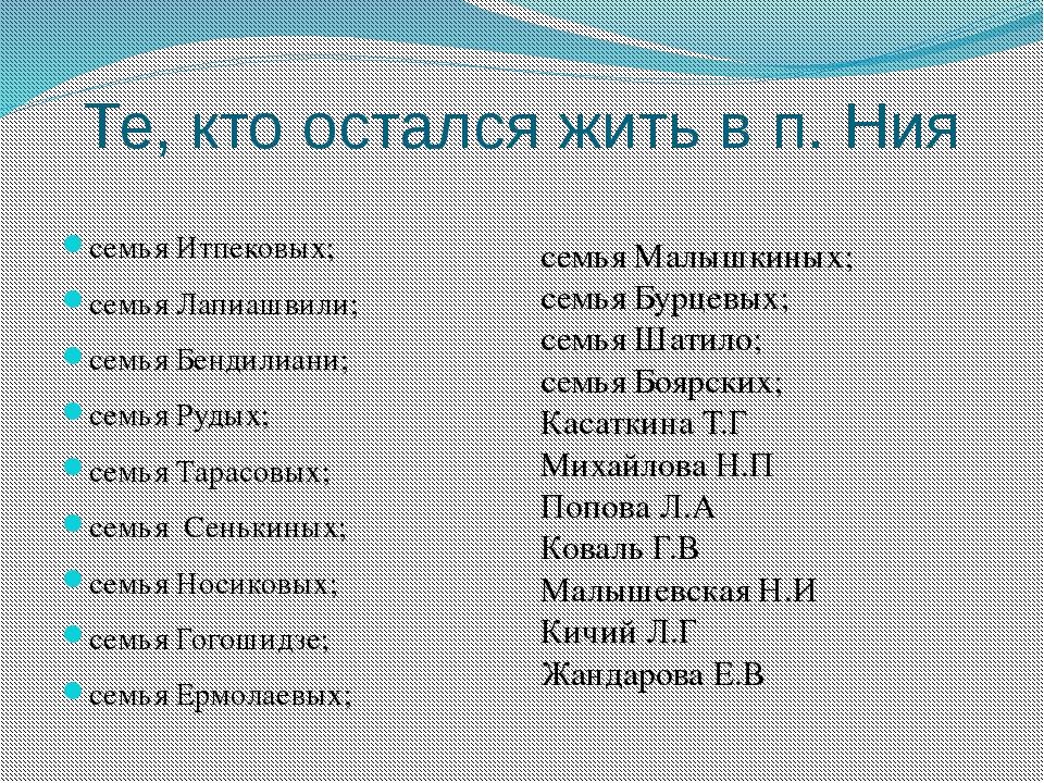 Те, кто остался жить в п. Ния семья Итпековых; семья Лапиашвили; семья Бендил...