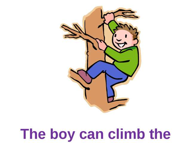 The boy can climb the tree.