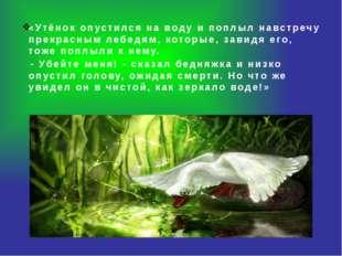 «Утёнок опустился на воду и поплыл навстречу прекрасным лебедям, которые, за