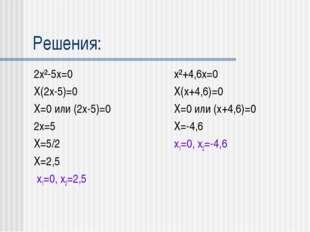 Решения: 2x²-5x=0 X(2x-5)=0 X=0 или (2x-5)=0 2x=5 X=5/2 X=2,5 x1=0, x2=2,5 x²