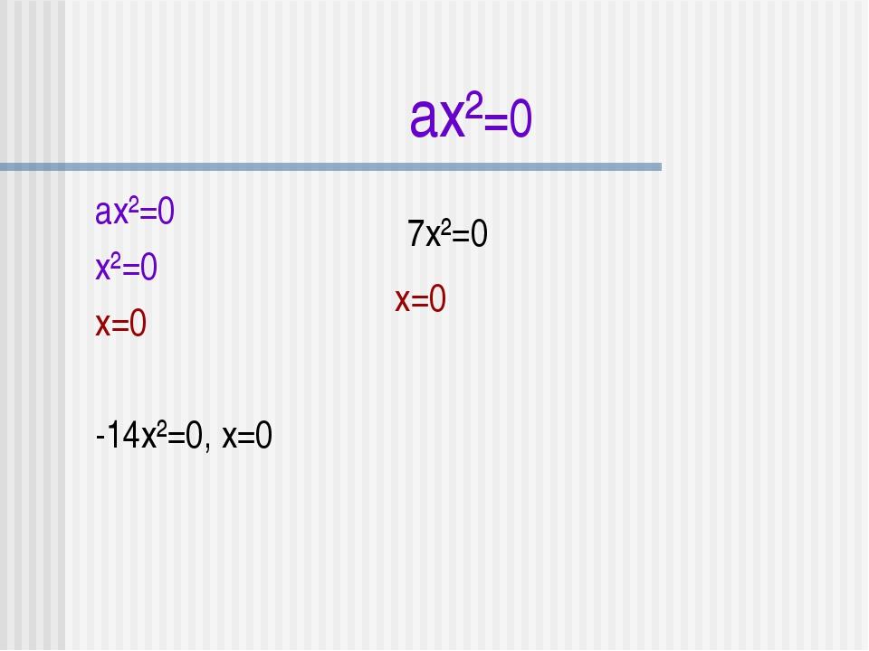ax²=0 ax²=0 x²=0 x=0 -14x²=0, x=0 7x²=0 x=0