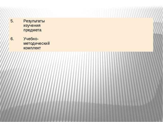 5. Результаты изучения предмета 6. Учебно-методический комплект