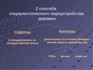2 способа социалистического переустройства деревни Совхозы (субсидировались и