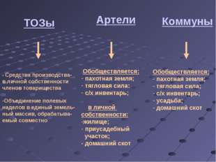 ТОЗы - Средства производства- в личной собственности членов товарищества Объе