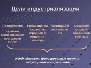 Цели индустриализации Преодоление технико-экономическойотсталости СССР Превра