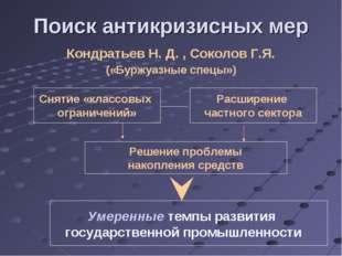 Поиск антикризисных мер Кондратьев Н. Д. , Соколов Г.Я. («Буржуазные спецы»)