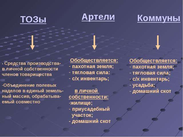 ТОЗы - Средства производства- в личной собственности членов товарищества Объе...